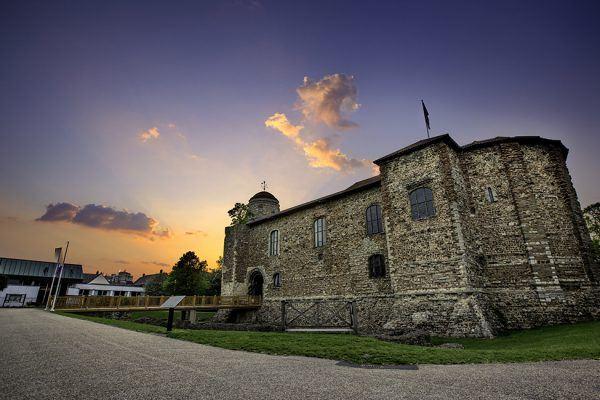 Colchester castle at sunset