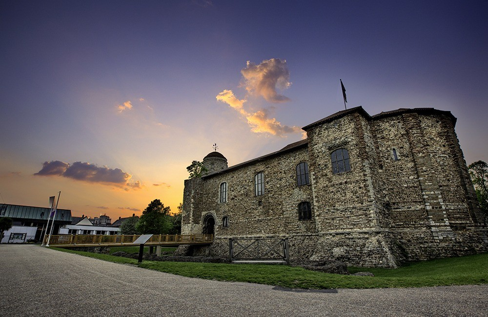 Colchester castle at sunset